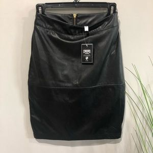 NEW Crooks and Castles  black faux leather mini